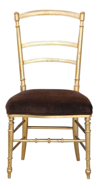 Beau Lovely Small Gilt And Brown Velvet Napoleon III Side Chair | DECASO