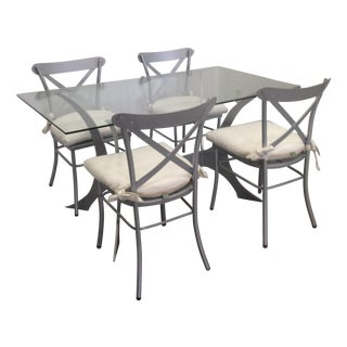 Metal & Glass Dining Set For Sale