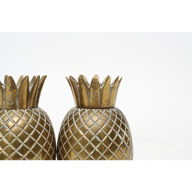 Brass Pineapple Salt & Pepper Shakers - A Pair For Sale - Image 5 of 9