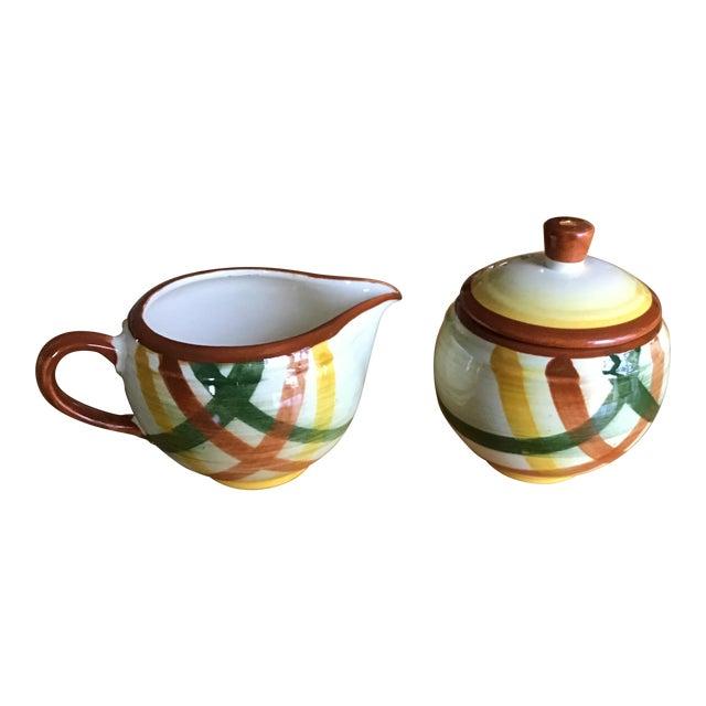 """1950s Vernon Kilns Vernonware """"Homespun"""" Sugar Bowl and Creamer - a Pair For Sale"""