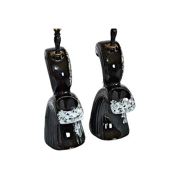 Mid-Century Modern Black & White Lamps - A Pair - Image 8 of 10