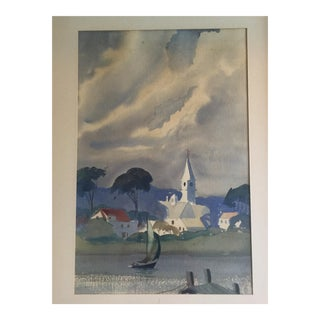 David L. Swasey Original Seascape of Sailboats and Town Watercolor Painting For Sale