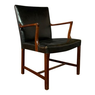 Jacob Kjær 1940s Leather and Mahogany Armchair, Denmark For Sale