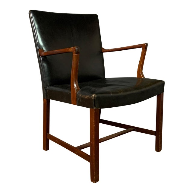 Jacob Kjær 1940s Leather and Mahogany Armchair, Denmark For Sale