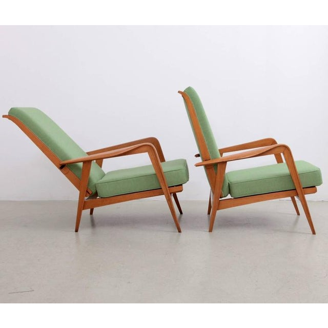 Mid-Century Modern Pair of New Upholstered Etienne Henri Martin Lounge Chairs For Sale - Image 3 of 6
