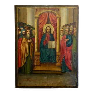 """18th Century """"Russian Icon"""" Oil Painting on Wood Board For Sale"""