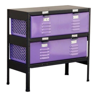 2 X 2 Locker Basket Unit in Lilac and Matte Black, Custom Made to Order For Sale
