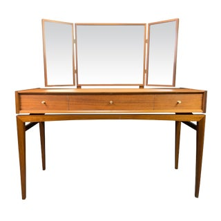 1960s Mid Century Modern Younger Teak Vanity and Mirror For Sale
