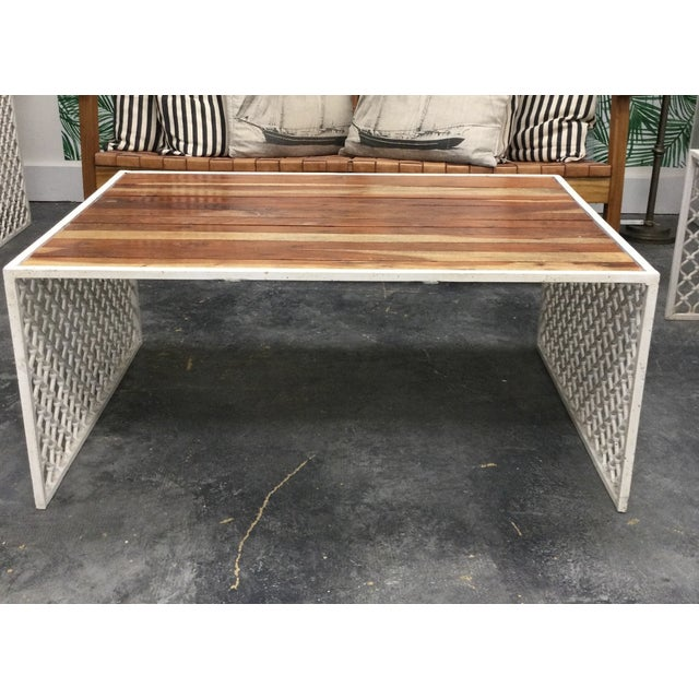 BOBO Outdoor Jali Wood Coffee Table With Powder Coated Moroccan Design Base For Sale - Image 4 of 4
