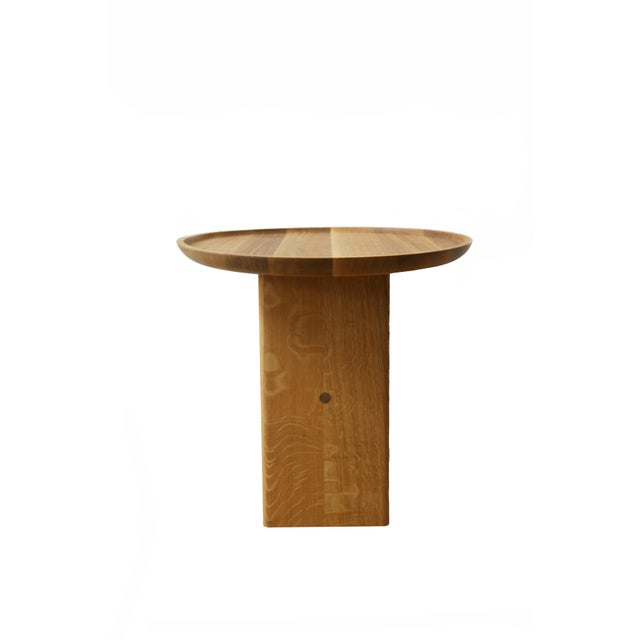 Slant Wooden Minimalist Table For Sale - Image 4 of 8