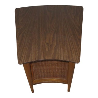 1960s Danish Modern Lane Side Table With Caned Shelf For Sale
