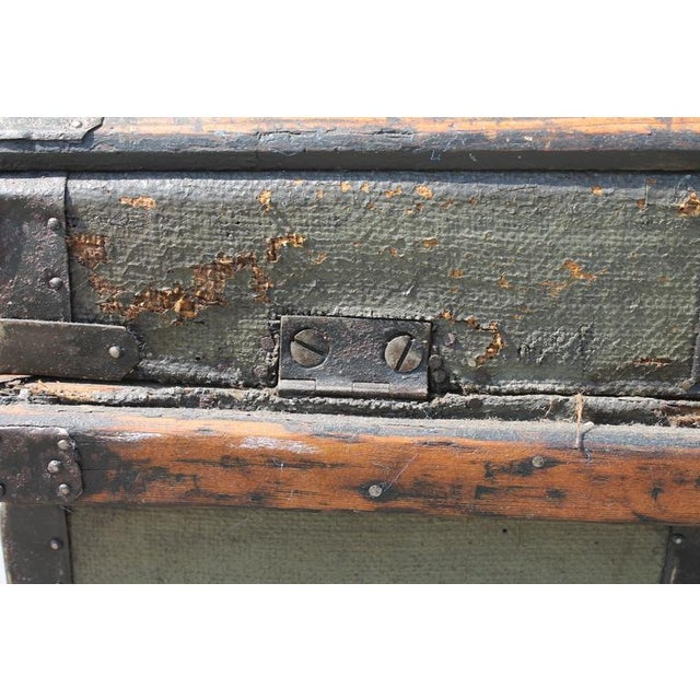 19th Century Original Green Painted Dome Top Trunk - Image 9 of 9
