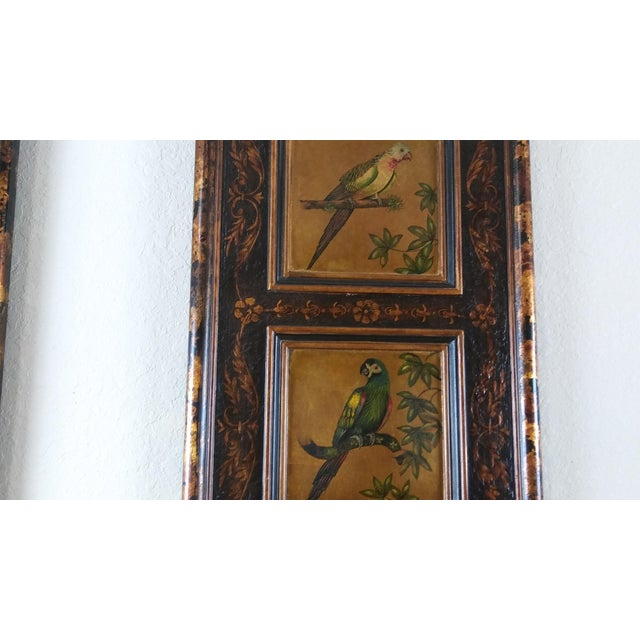 Castilian Imports Tropical Birds Wood Wall Plaque Panels - A Pair For Sale - Image 6 of 10