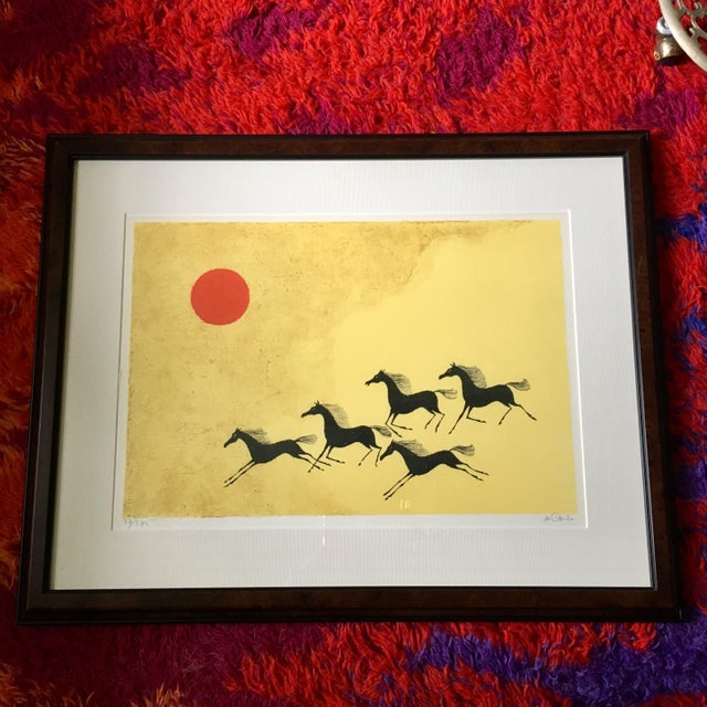 Yellow Framed Mustang Lithograph by Keith DeCarlo For Sale - Image 8 of 8