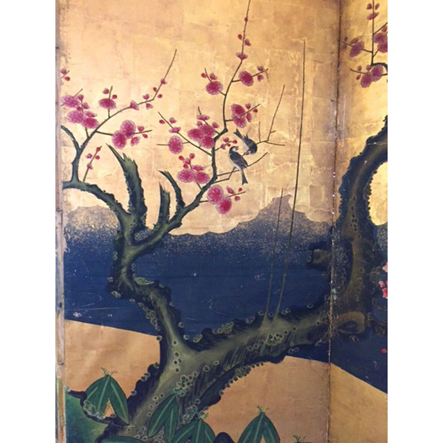 18th Century Antique Japanese Gold Leaf Screen with Blossoms and Birds For Sale - Image 4 of 10