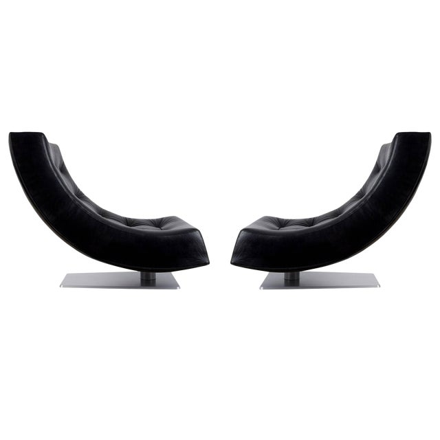1980s Large Modern Tufted Black Leather Swivel Scoop Lounge Chairs - a Pair For Sale