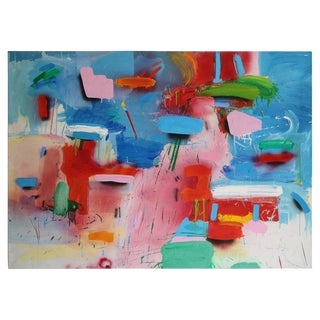 Blue and White Abstract With Multicolored Brushstrokes by Thomas Gathman For Sale