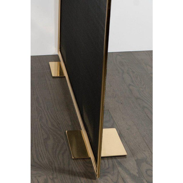 Gold Custom Modern Fire Screen in Polished Brass with Curved Corner Detail For Sale - Image 8 of 9