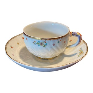 Meissen Swan Service Indian Flowers With High Karat Gold Tea Cup & European Saucer For Sale