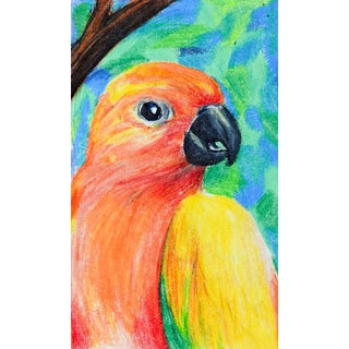 1990s Colorful Parrot Drawing For Sale