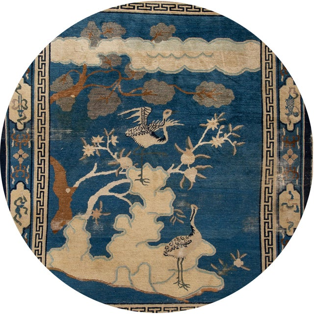 Beautiful antique Chinese Art Deco Peking rug, hand-knotted wool with a blue field, and beige accents in a subtle all-over...