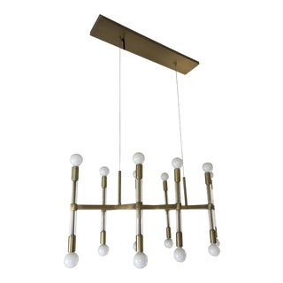 West Elm Brass & Lucite Rectangle Chandelier