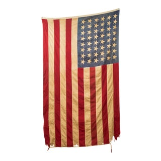Antique Large American Flag With 48 Stars C. Pre 1940s For Sale