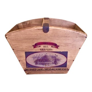 Vintage Mid-Century English Wooden BeeKeeper Basket For Sale