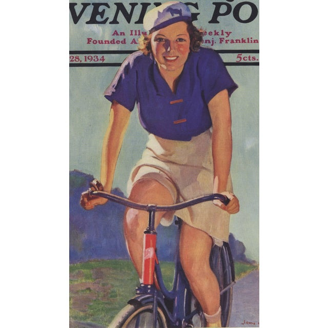 Matted Vintage Print-Woman Cyclist on Bike For Sale - Image 4 of 5