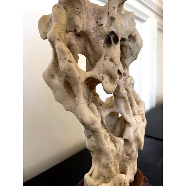 Mid 20th Century Chinese White Scholar Stone from Taihu Lake on Display Stand For Sale - Image 5 of 13