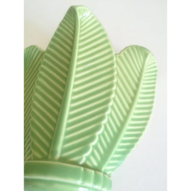 Various Artists Vintage Mid Century Art Deco Pistachio Mint Green Art Pottery Palm Leaf Ceramic Wall Pocket Vase For Sale - Image 4 of 13