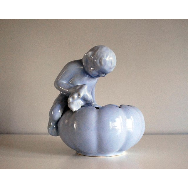 1940s Niloak Blue Art Pottery Planter, Satyr and Pipes For Sale In Saint Louis - Image 6 of 6