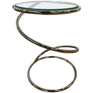 "Mid-Century Modern Pace Collection ""Spring"" Chrome and Glass Side Table"