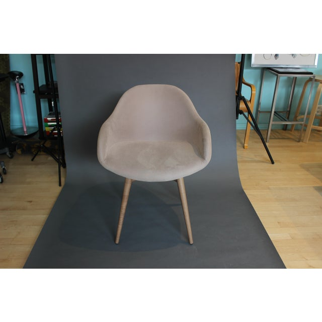 MIDJ Italy's Sonny Armchair with low armrests. Walnut stained Ash wooden base, upholstered shell in Beige Ultrasuede. Used...