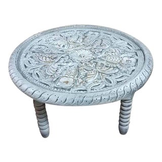 Rabat Moroccan Off-White Rounds Hand-Carved Side Table For Sale