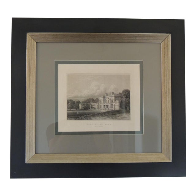 English Manors Engraving Reproduction in Black & White Framed #4 For Sale