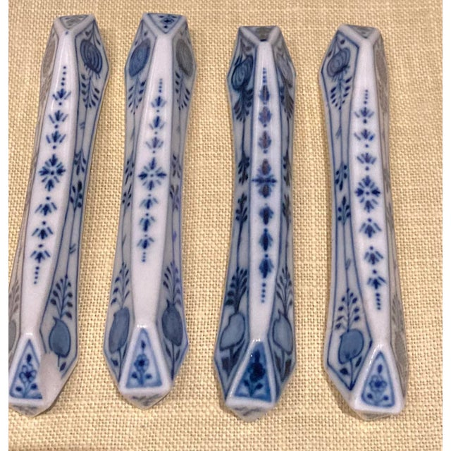 """Meissen Blue Onion (""""Sword"""" Backstamp), Germany, Knife Rest. Set of 8 These are 4 inches long x about 1/2 inch wide 7 of..."""