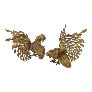 Vintage Brass Fighting Cockerel Birds - A Pair