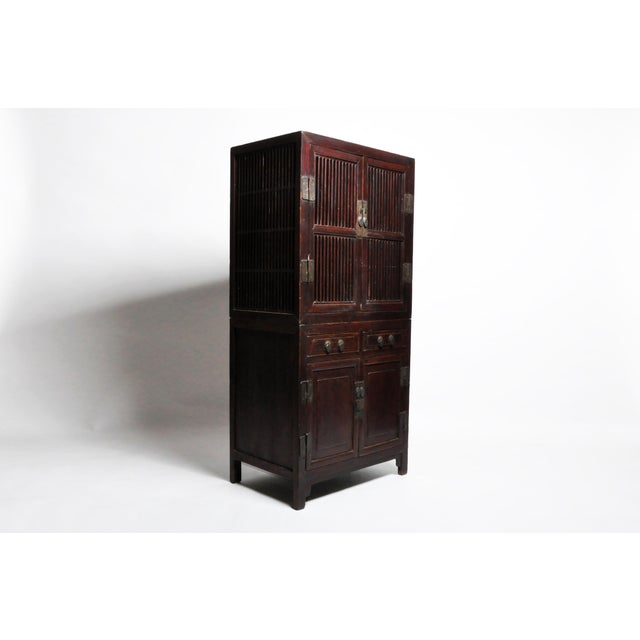 Chinese Mid 19th Century Chinese Lattice Kitchen Cabinet With Original Patina For Sale - Image 3 of 13