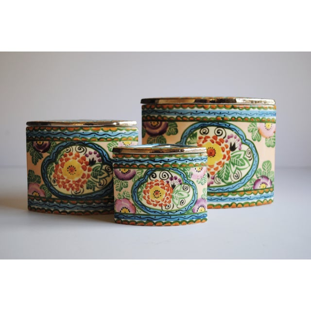 Vintage Handpainted Ceramic Canisters, Set of 3 - Image 2 of 4