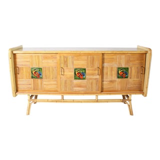 French Credenza With Bamboo Inlay, C. 1950 For Sale