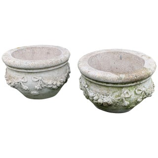 Large Stately Pair of Cast Stone Cement Flower Pot Planters For Sale