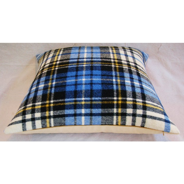 """Blue Vintage Scottish Tartan Plaid Wool Feather/Down Pillows 24"""" Square - Pair For Sale - Image 8 of 11"""
