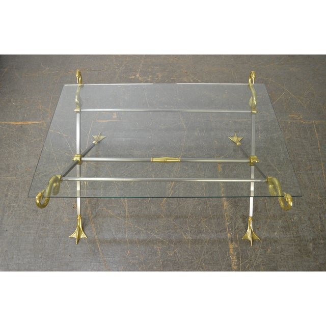 LaBarge X Base Brass Brushed Steel Glass Top Coffee Table For Sale - Image 12 of 13