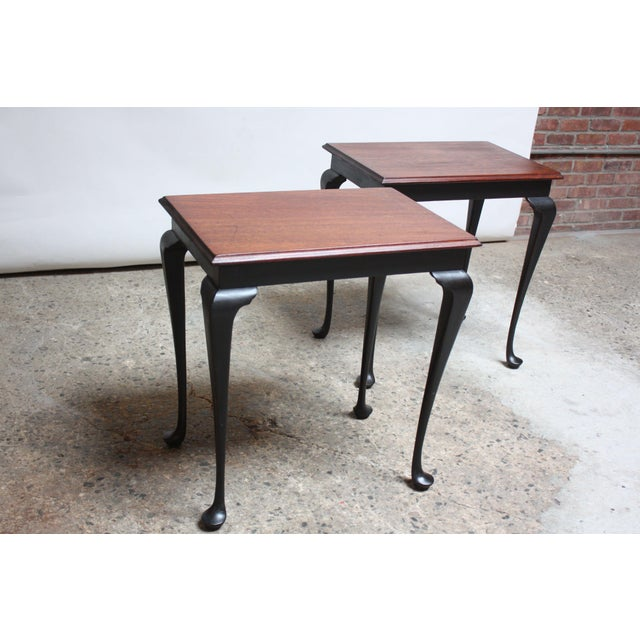 Pair of Mahogany and Ebonized Walnut Chippendale-Style Tall End Tables For Sale - Image 13 of 13