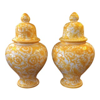 Yellow Portuguese Temple Jars - A Pair