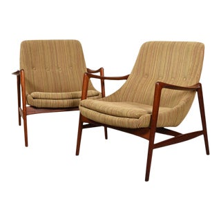 Sculpted Pair Danish Modern Teak Accent Chairs For Sale