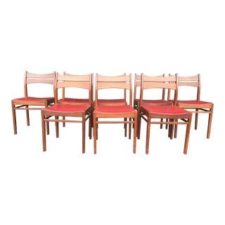 Vintage Mid-Century Danish Teak Dining Chairs- Set of 8 For Sale
