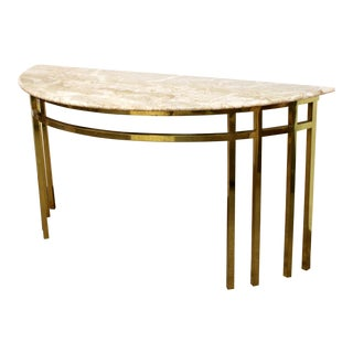 1960s Mid Century Modern Marble on Brass Demilune Console Table For Sale