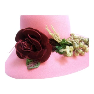 Saks Fifth Avenue Pink Felt Wool Velvet Rose Hat C 1970s For Sale